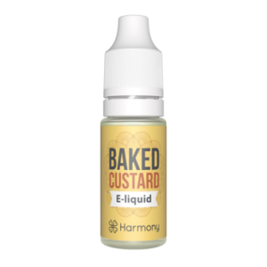 bottle of Harmony's CBD vape baked custard e-liquid